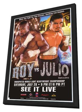 Roy Jones, Jr vs. Julio Gonzalez - 11 x 17 Boxing Promo Poster - Style A - in Deluxe Wood Frame