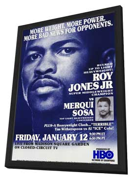 Roy Jones Jr. Vs Merqui Sosa - 11 x 17 Boxing Promo Poster - Style A - in Deluxe Wood Frame