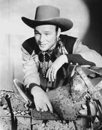 Roy Rogers Collection - Roy Rogers posed in Cowboy Outfit in Black and White