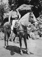 Roy Rogers Collection - Roy Rogers Riding A Horse in Black and White Portrait