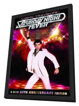 Saturday Night Fever - 11 x 17 Movie Poster - Style E - in Deluxe Wood Frame