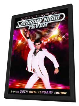Saturday Night Fever - 27 x 40 Movie Poster - Style E - in Deluxe Wood Frame