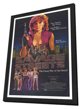Savage Streets - 27 x 40 Movie Poster - Style A - in Deluxe Wood Frame