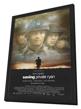 Saving Private Ryan - 27 x 40 Movie Poster - Style A - in Deluxe Wood Frame