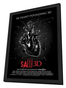 Saw 3D - 11 x 17 Movie Poster - Style B - in Deluxe Wood Frame