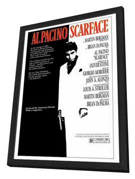 Scarface - 27 x 40 Movie Poster - Style A - in Deluxe Wood Frame