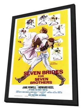 Seven Brides for Seven Brothers - 27 x 40 Movie Poster - Style A - in Deluxe Wood Frame