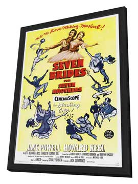 Seven Brides for Seven Brothers - 27 x 40 Movie Poster - Style B - in Deluxe Wood Frame