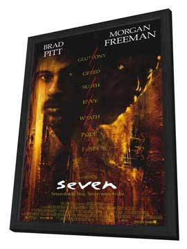 Seven - 11 x 17 Movie Poster - Style A - in Deluxe Wood Frame