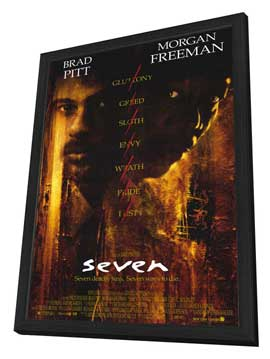 Seven - 27 x 40 Movie Poster - Style A - in Deluxe Wood Frame