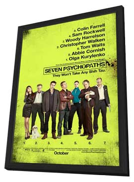 Seven Psychopaths - 27 x 40 Movie Poster - Style B - in Deluxe Wood Frame