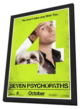 Seven Psychopaths - 27 x 40 Movie Poster - Style H - in Deluxe Wood Frame
