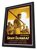 Seven Samurai - 27 x 40 Movie Poster - Italian Style A - in Deluxe Wood Frame