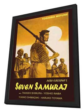 Seven Samurai - 11 x 17 Movie Poster - Italian Style A - in Deluxe Wood Frame