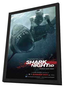 Shark Night 3D - 27 x 40 Movie Poster - Style A - in Deluxe Wood Frame