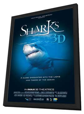 Sharks 3D - 27 x 40 Movie Poster - Style A - in Deluxe Wood Frame