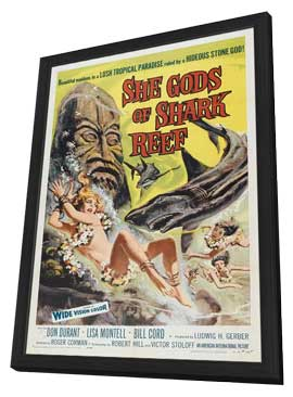She Gods of Shark Reef - 11 x 17 Movie Poster - Style A - in Deluxe Wood Frame