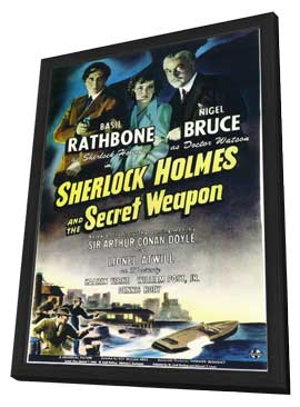 Sherlock Holmes and the Secret Weapon - 11 x 17 Movie Poster - Style A - in Deluxe Wood Frame