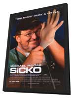 Sicko - 11 x 17 Movie Poster - Style A - in Deluxe Wood Frame