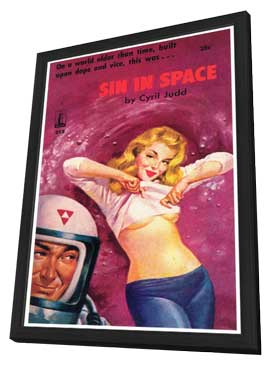 Sin in Space - 11 x 17 Retro Book Cover Poster - in Deluxe Wood Frame