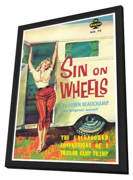 Sin on Wheels - 11 x 17 Retro Book Cover Poster - in Deluxe Wood Frame
