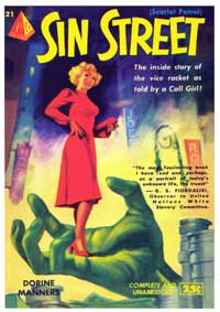Sin Street - 11 x 17 Retro Book Cover Poster