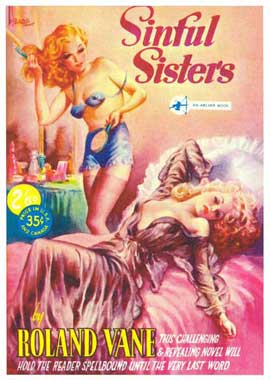 Sinful Sisters - 11 x 17 Retro Book Cover Poster