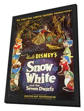 Snow White and the Seven Dwarfs - 11 x 17 Movie Poster - Style AA - in Deluxe Wood Frame