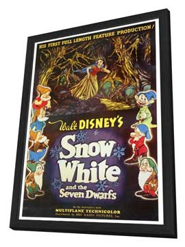 Snow White and the Seven Dwarfs - 27 x 40 Movie Poster - Style A - in Deluxe Wood Frame