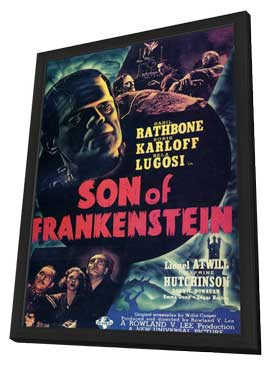 Son of Frankenstein - 11 x 17 Movie Poster - Style F - in Deluxe Wood Frame