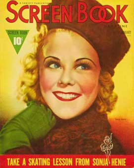 Sonja Henie - 27 x 40 Movie Poster - Screen Book Magazine Cover 1930's