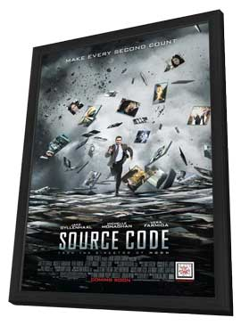 Source Code - 11 x 17 Movie Poster - Style A - in Deluxe Wood Frame