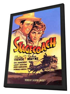 Stagecoach - 11 x 17 Movie Poster - Style E - in Deluxe Wood Frame