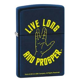 Star Trek - Live Long and Prosper Navy Matte Zippo Lighter