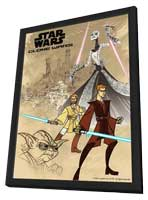 Star Wars: Clone Wars - 11 x 17 Movie Poster - Style B - in Deluxe Wood Frame