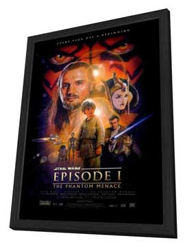 Star Wars: Episode I-The Phantom Menace (3D) - 27 x 40 Movie Poster - Style A - in Deluxe Wood Frame