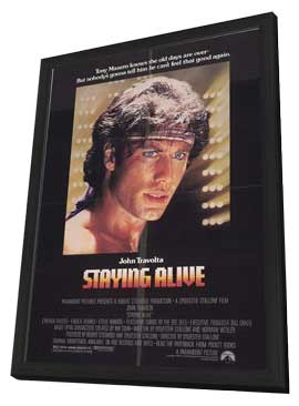 Staying Alive - 27 x 40 Movie Poster - Style A - in Deluxe Wood Frame