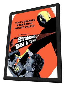 Strangers on a Train - 27 x 40 Movie Poster - Style G - in Deluxe Wood Frame