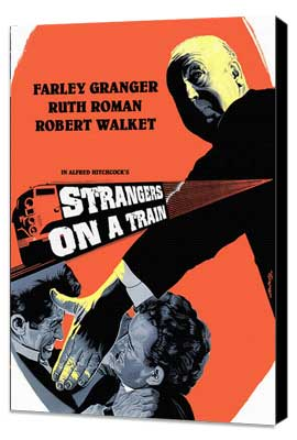 Strangers on a Train - 27 x 40 Movie Poster - Style G - Museum Wrapped Canvas
