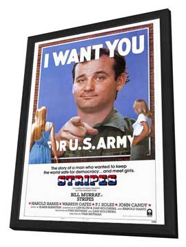 Stripes - 27 x 40 Movie Poster - Style A - in Deluxe Wood Frame