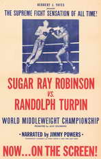 Sugar Ray Robinson vs. Randolph Turpin - 11 x 17 Movie Poster - Style A