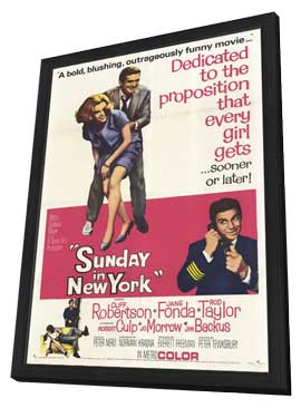Sunday in New York - 11 x 17 Movie Poster - Style B - in Deluxe Wood Frame