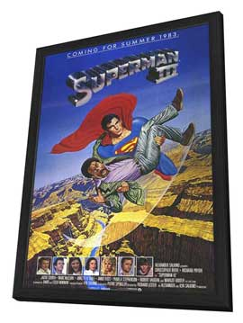Superman 3 - 11 x 17 Movie Poster - Style B - in Deluxe Wood Frame