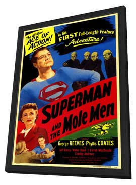 Superman & the Mole Men - 11 x 17 Movie Poster - Style A - in Deluxe Wood Frame