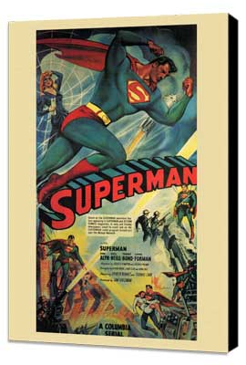 Superman - 11 x 17 Movie Poster - Style F - Museum Wrapped Canvas