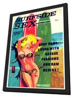 Surf Side Sex - 11 x 17 Retro Book Cover Poster - in Deluxe Wood Frame