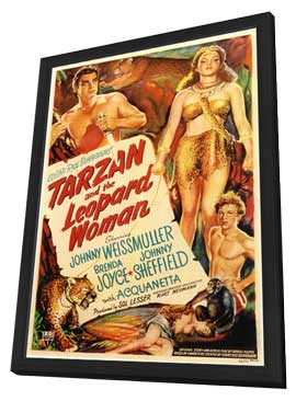 Tarzan and the Leopard Woman - 11 x 17 Movie Poster - Style A - in Deluxe Wood Frame