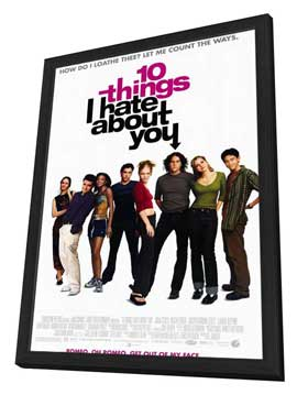 Ten Things I Hate About You - 11 x 17 Movie Poster - Style A - in Deluxe Wood Frame