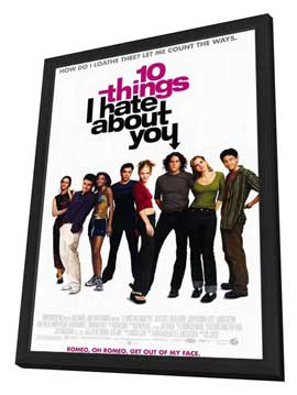 Ten Things I Hate About You - 27 x 40 Movie Poster - Style A - in Deluxe Wood Frame