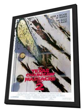 The Texas Chainsaw Massacre 2 - 27 x 40 Movie Poster - Style B - in Deluxe Wood Frame
